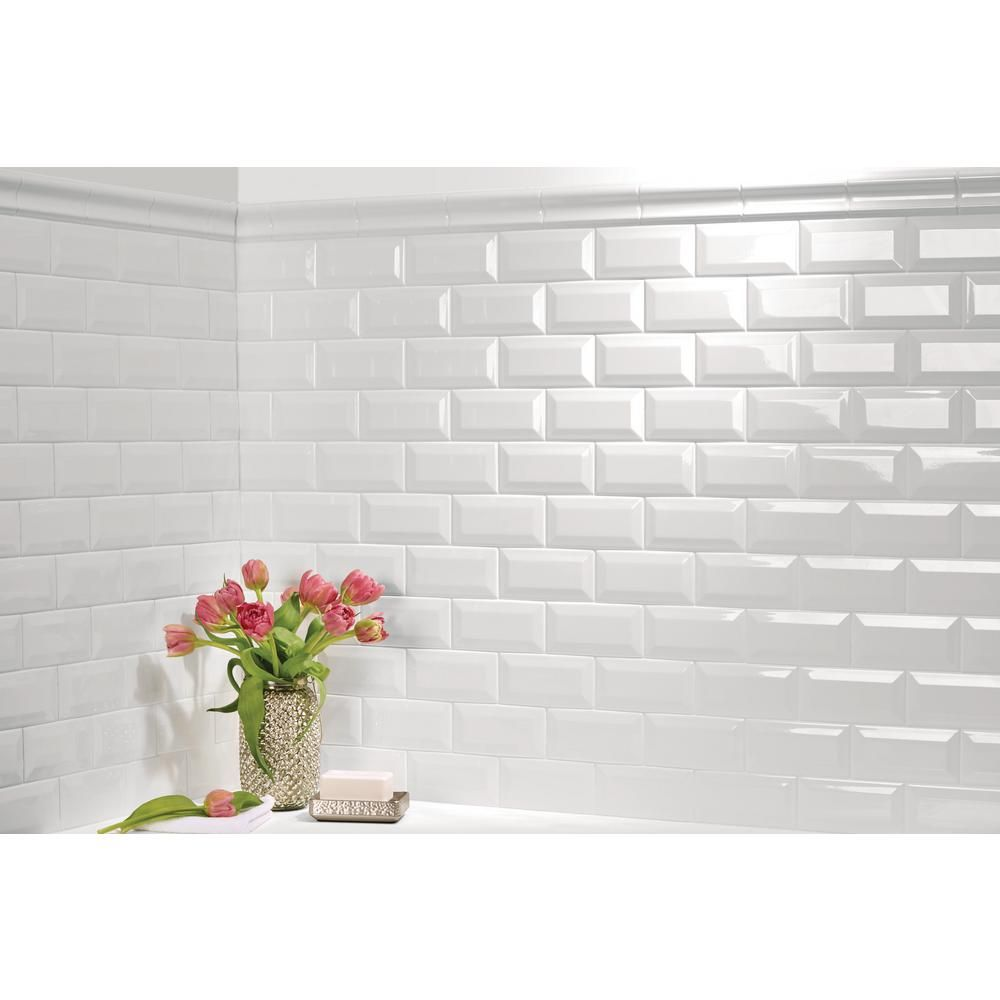 Daltile finesse bright white 3 in x 6 in ceramic beveled wall daltile finesse bright white 3 in x 6 in ceramic beveled wall tile 1125 sq ft case dailygadgetfo Image collections