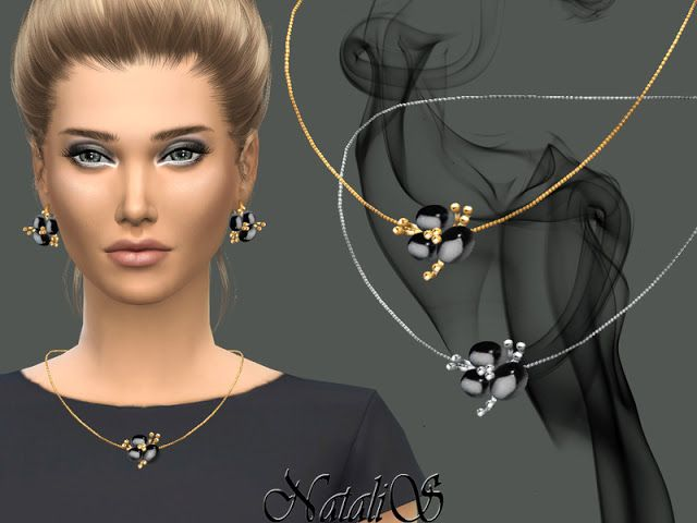 Sims 4 CCs  The Best Onyx flower pendant by NataliS  Sims 4 finds