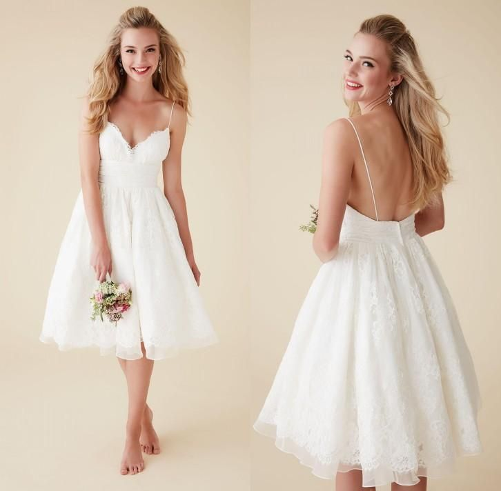 sexy short beach wedding dresses 2016 white full lace spaghetti straps backless knee length mini bridal gowns with appliques