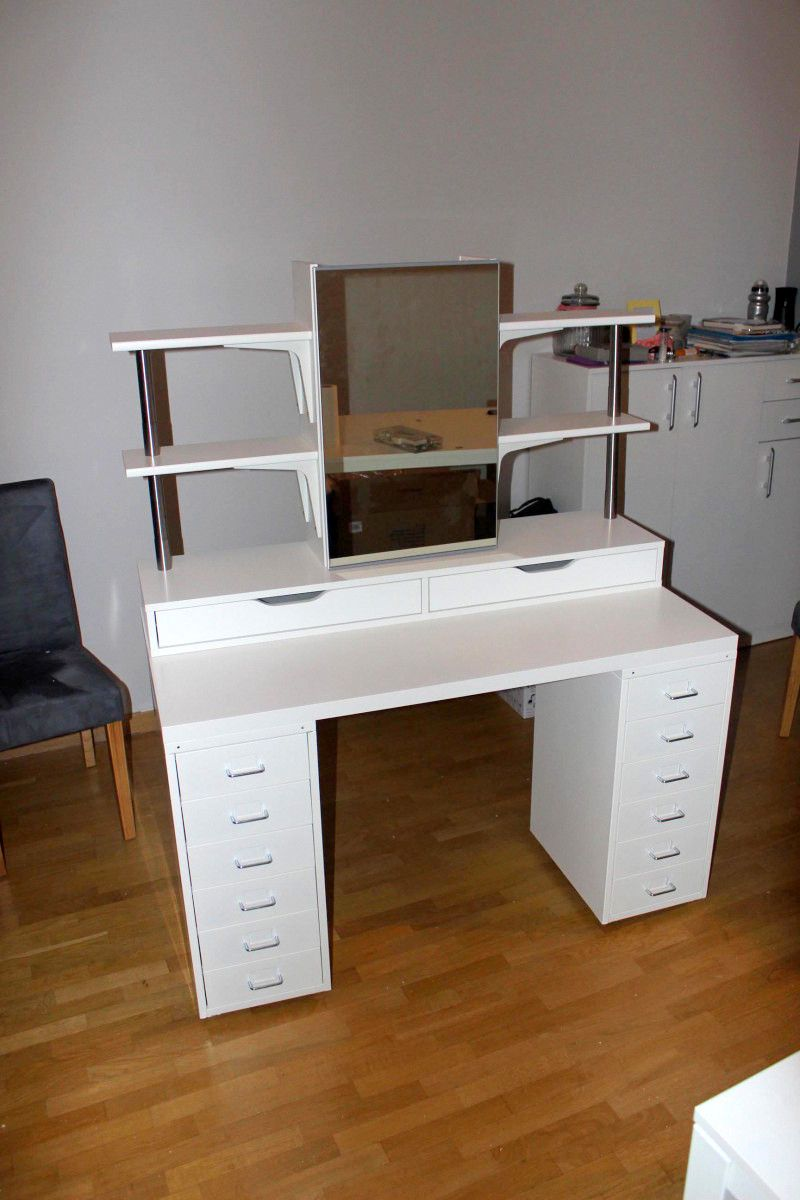 Ikea hackers makeup vanity with side shelving plenty of for Dressing table with lights
