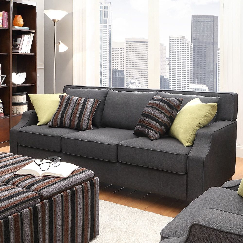Broadway Dark Grey Fabric Sloped Track Arm Sofa by INSPIRE Q