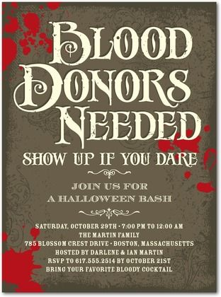 Halloween Party Invitations Blood Drive Front Ash