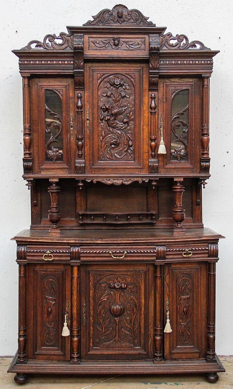 19th C French Renaissance Revival Buffet Deux Corps Antieke