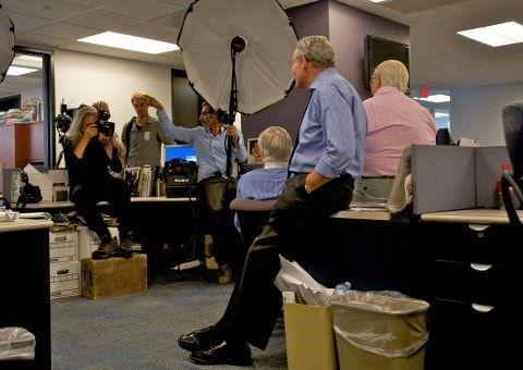 Annie Leibovitz Takes A Group Shot Of Former Washington Post