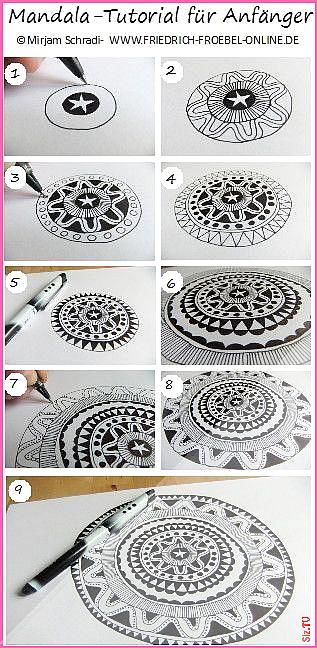 Mandala Tutorial For Beginner Anleitung Zum Mandala Malen Anleitung Wie Du Schritt F R Schritt Freia Doodle Art For Beginners Mandala Doodle Mandala Painting