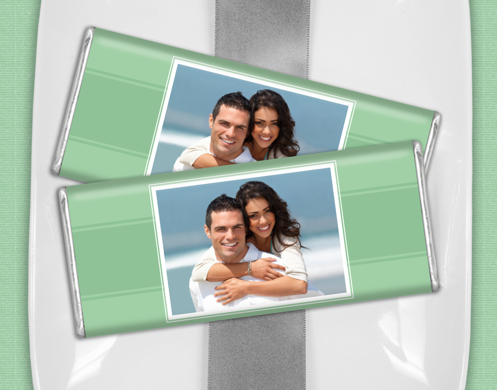 Sweeten your mint themed wedding day with personalized HERSHEY'S chocolates featuring your favorite photo from your engagement photo shoot!