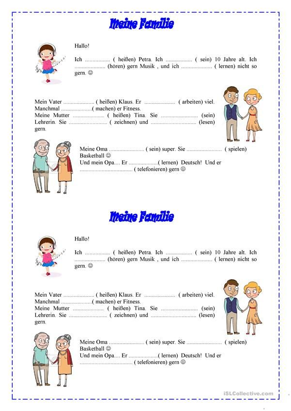 Präsens, Thema - Meine Familie | Hallo, Kinder, wir lernen Deutsch ...