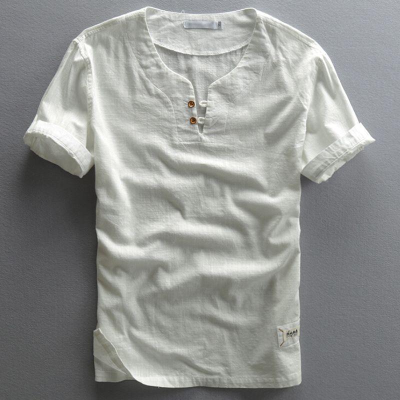 Summer Hemp Shirts Slim Thin Linen V neck Shirts Men Short Sleeve  Collarless V-neck Polo Shirts For Men Yellow 6fe0d59cdec