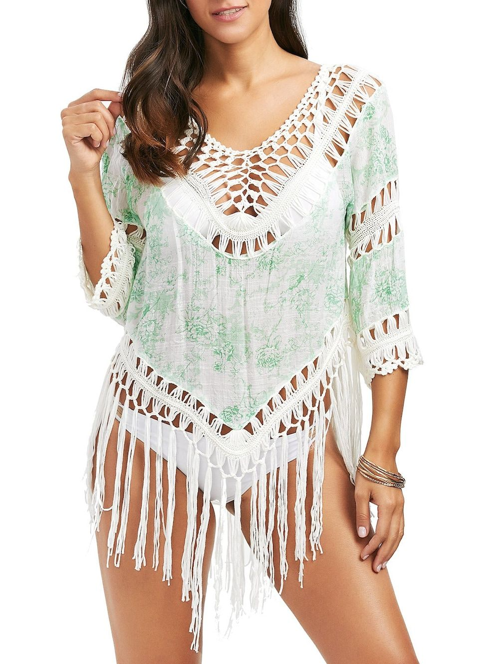 bca461a034f80 Flower Printing Irregular Sunscreen Cozy Cover Ups Swimsuits For Women  Cheap Best - NewChic · Crochet Panel Printed Tassel Cover Up - PALE GREEN  ONE SIZE