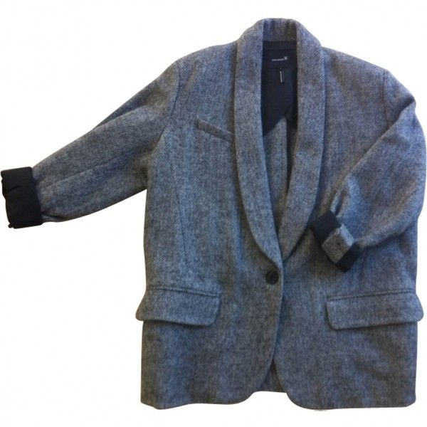 JACKET ISABEL MARANT ($423) ❤ liked on Polyvore featuring outerwear, jackets, coats, tops, isabel marant, blue wool jacket, wool jacket, isabel marant jacket and blue jackets