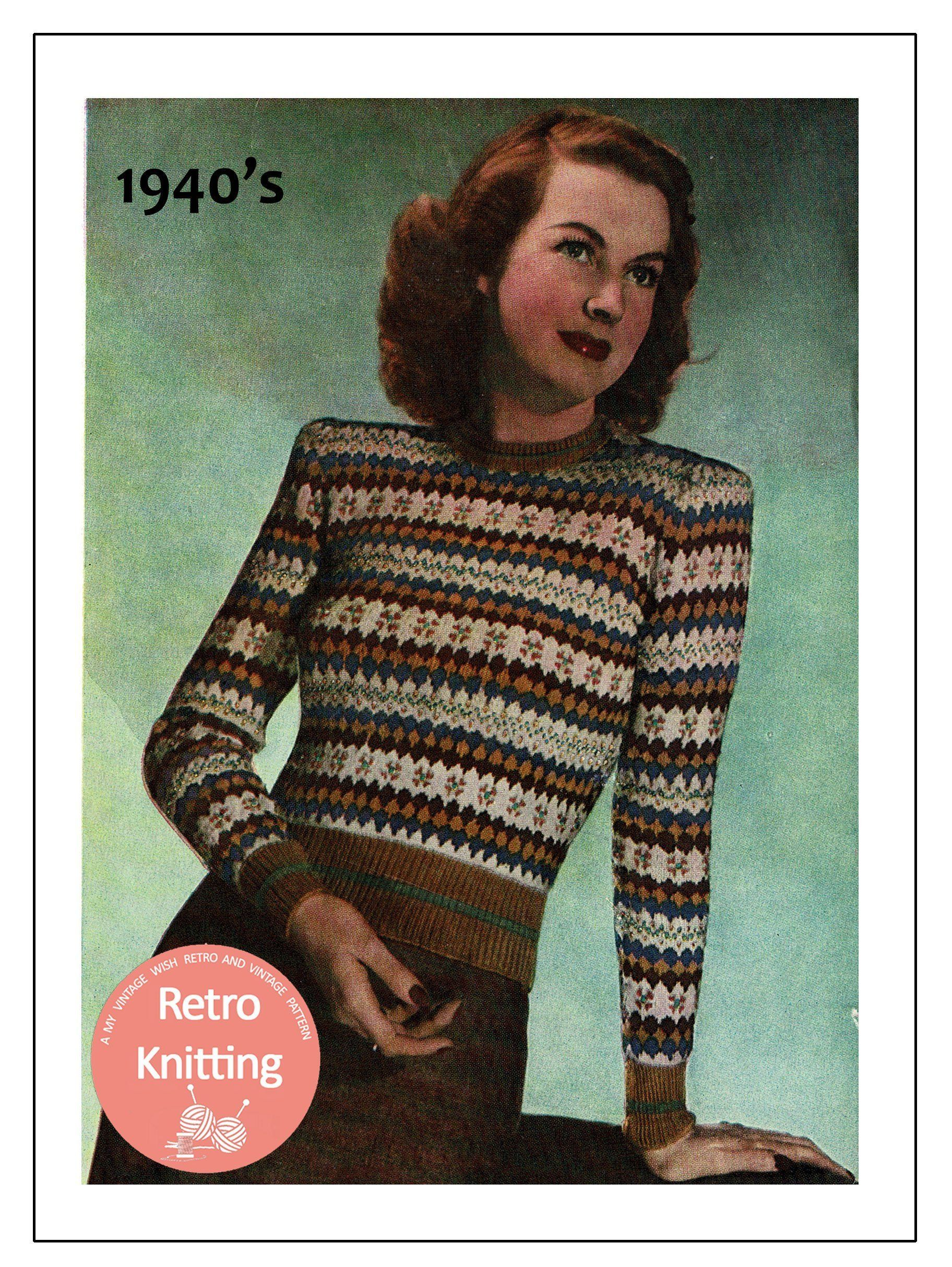 Copy from vintage booklet. Lady/'s pullover crochet pattern