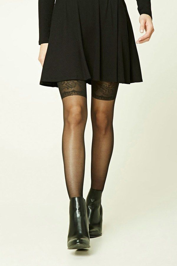 FOREVER 21  Rose Pattern Tights - A pair of sheer tights featuring a rose pattern on the thighs.