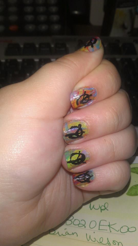 My latest design- Psychedelic marble nails and graffiti peace signs. Marble colors: (All AVON) Coral Bikini, Orange Creamsicle, Sweet Mint, Blue Escape, and Loving Lavender. Peace sign done with WnW black and toothpick.