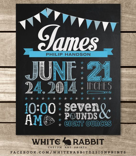 Birth Announcement Chalkboard Sign by WhiteRabbitArtPrints – Birth Announcement Signs