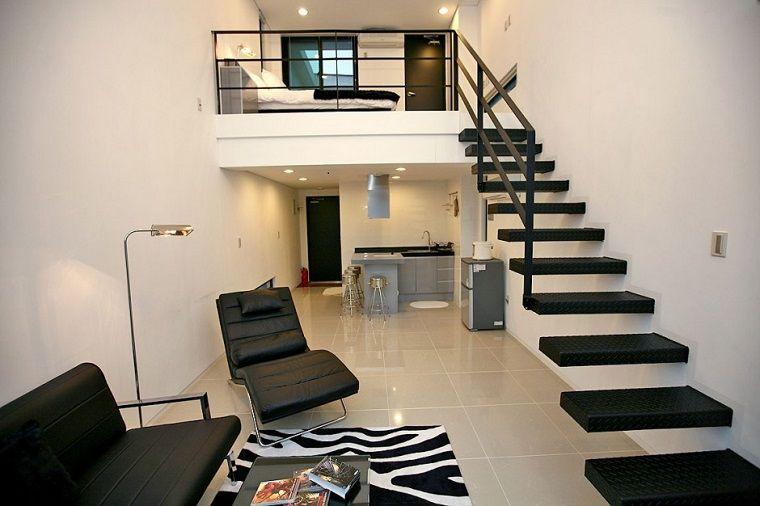 escaleras modernas con peldaos negros - Escaleras Modernas