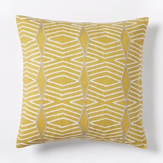 Crewel Diamond Stripe Pillow Cover Citrus Yellow Pillows Stripe Pillow Pillow Covers