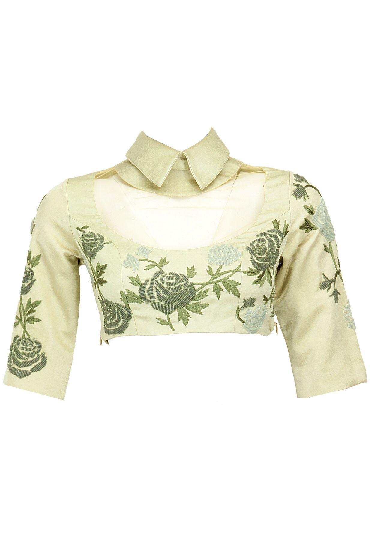 Sage beaded cropped collared blouse with sheer yoke available only ...