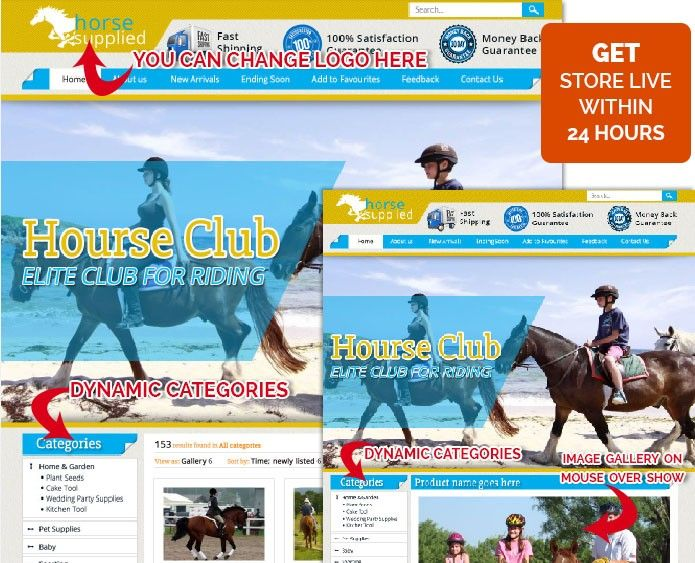 Elite Horse Theme Custom EBay Store Template Auction Templates - Custom ebay store template