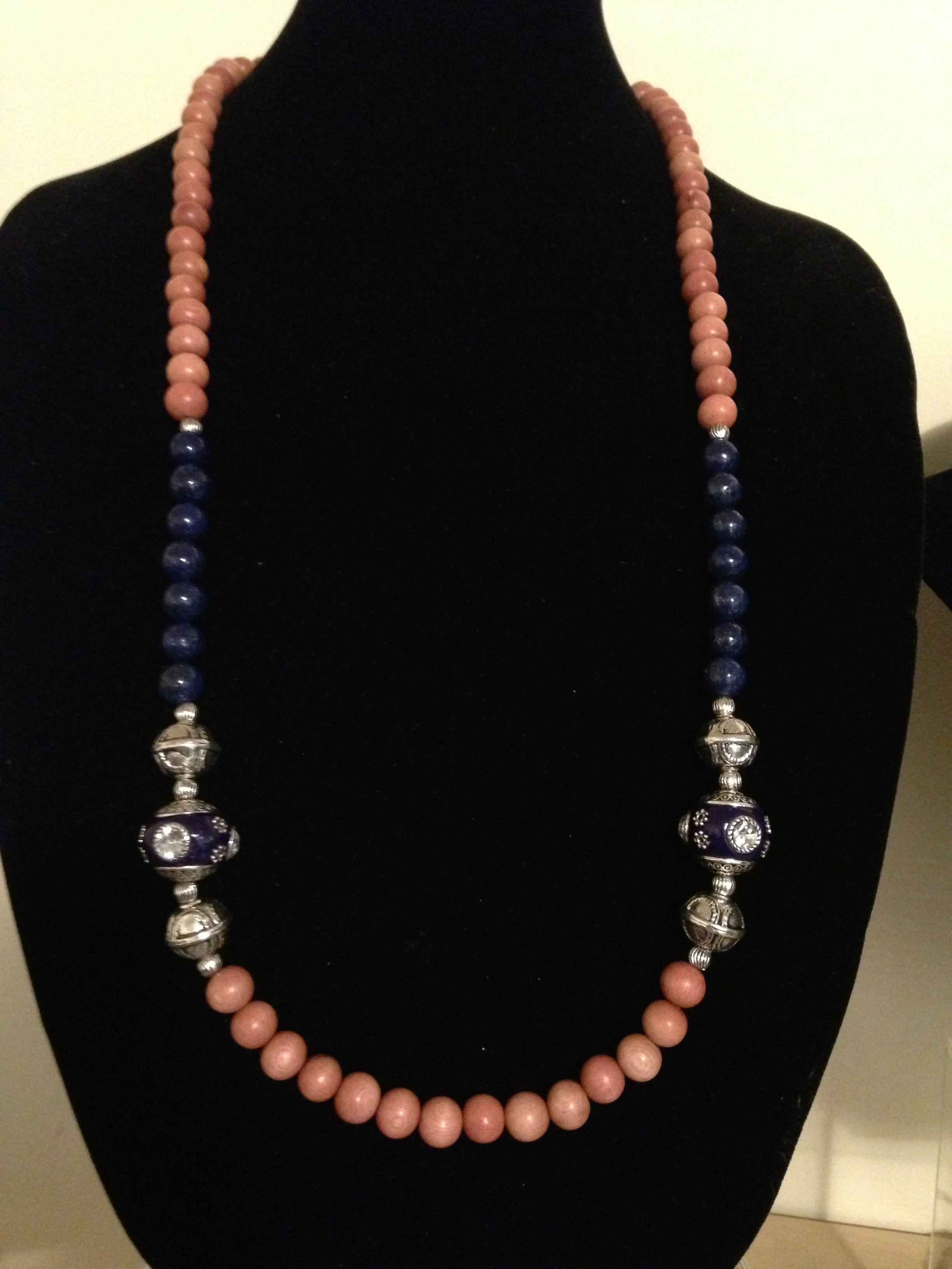 Rosewood, lapis lazuli, Tibetan beads...$165.