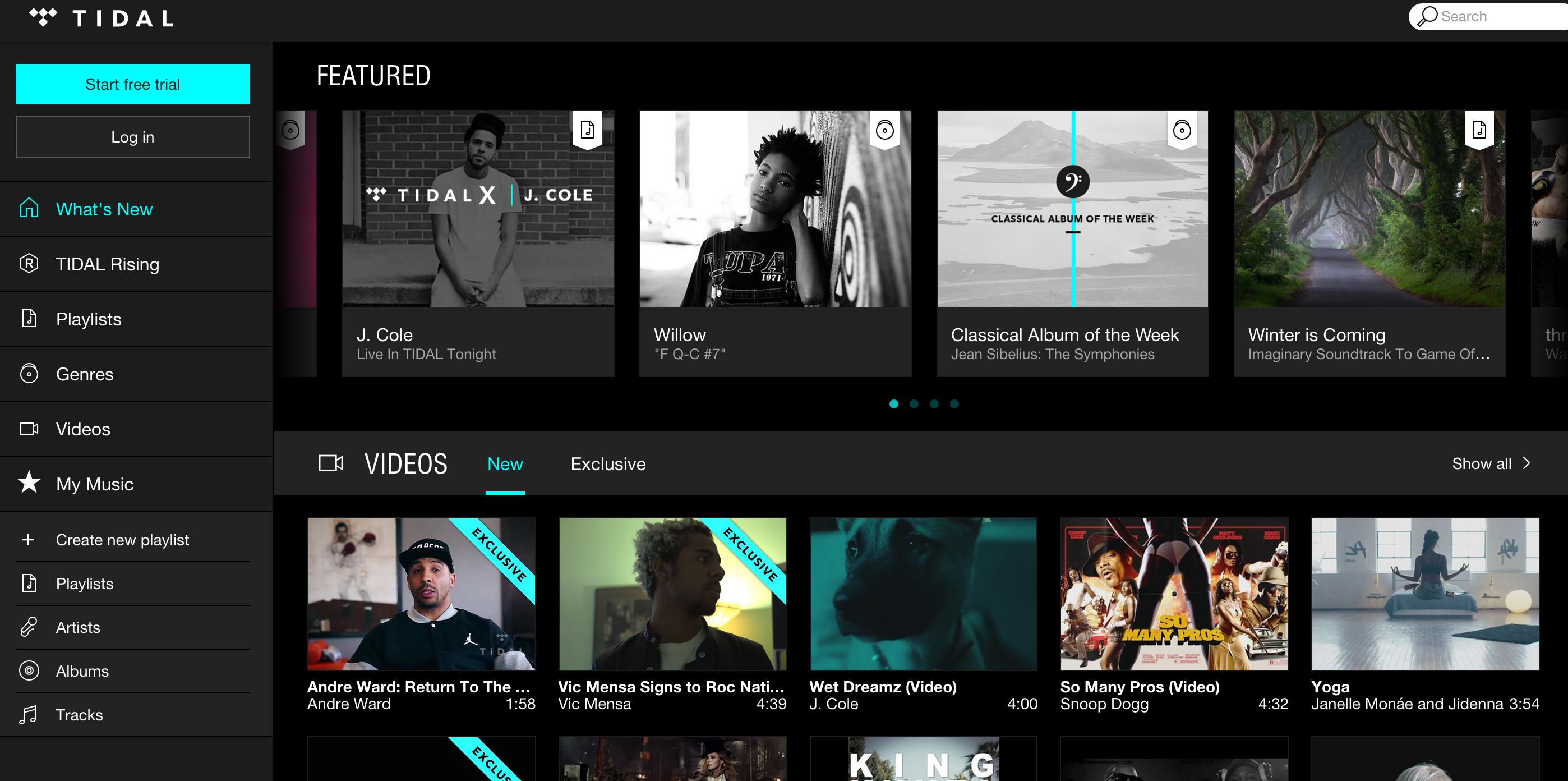 Tidal music service. Tidal, Video new, Music