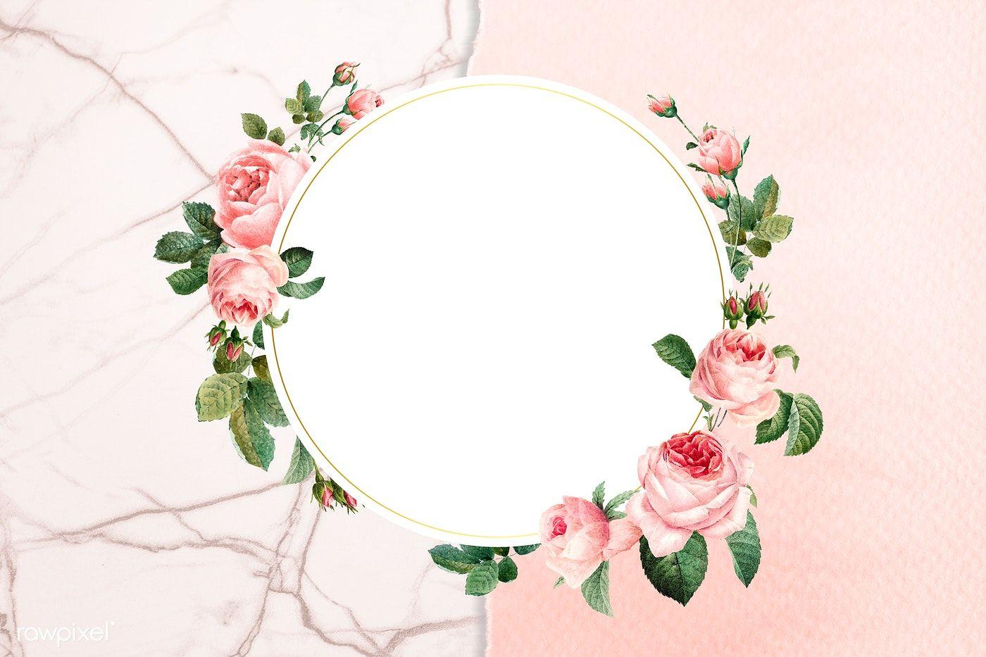 Download Premium Illustration Of Floral Round Frame On A Marble Background Rose Frame Pink And White Background Flower Frame