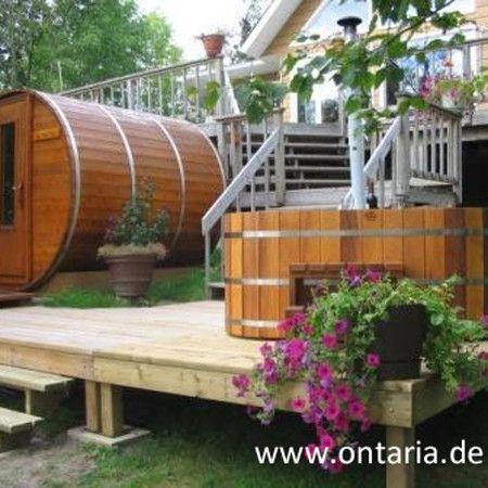Dipping Pool Hot Tub H90xw150cm For 4 People Red Cedar Dipping Pool Matching Your Barrel Sauna To Cool Down After Yo Diy Sauna Saunahaus Garten Sauna Im Garten