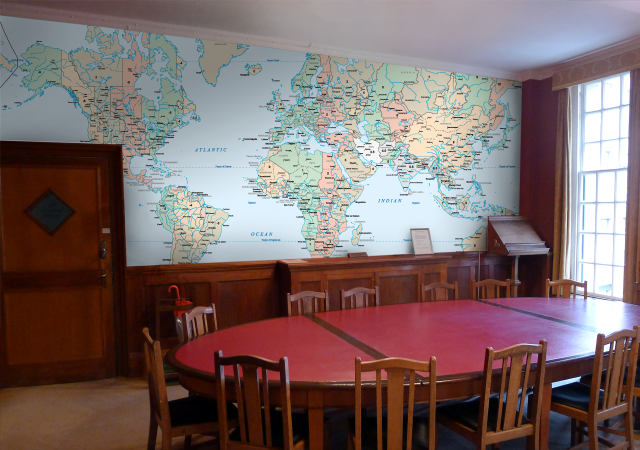 HAM Shack possibility? Custom made wall maps on wallpaper - made to ...