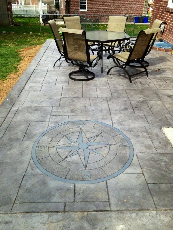 Cement Patio Designs Stained Concrete Floor Designs: Stamped Concrete Patio With Compass Design
