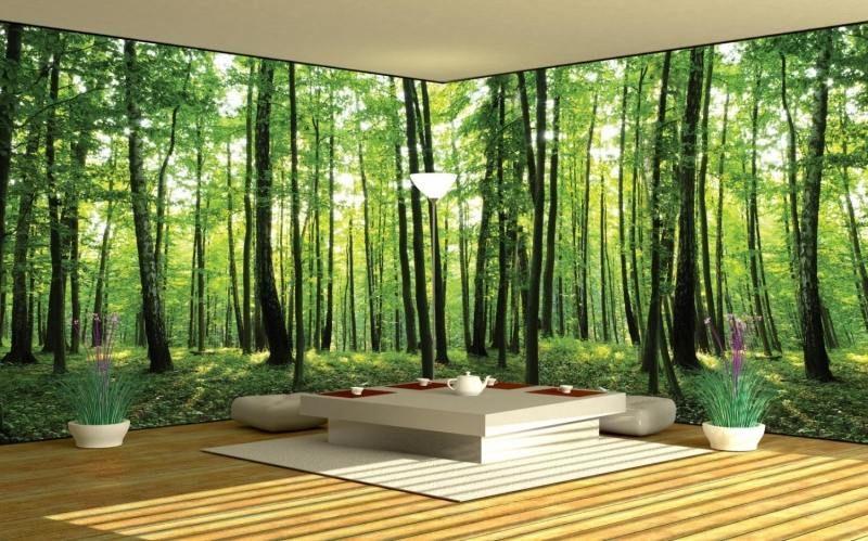 poster mural xxl en vert au motif végétation abondante Ev için - murales con fotos