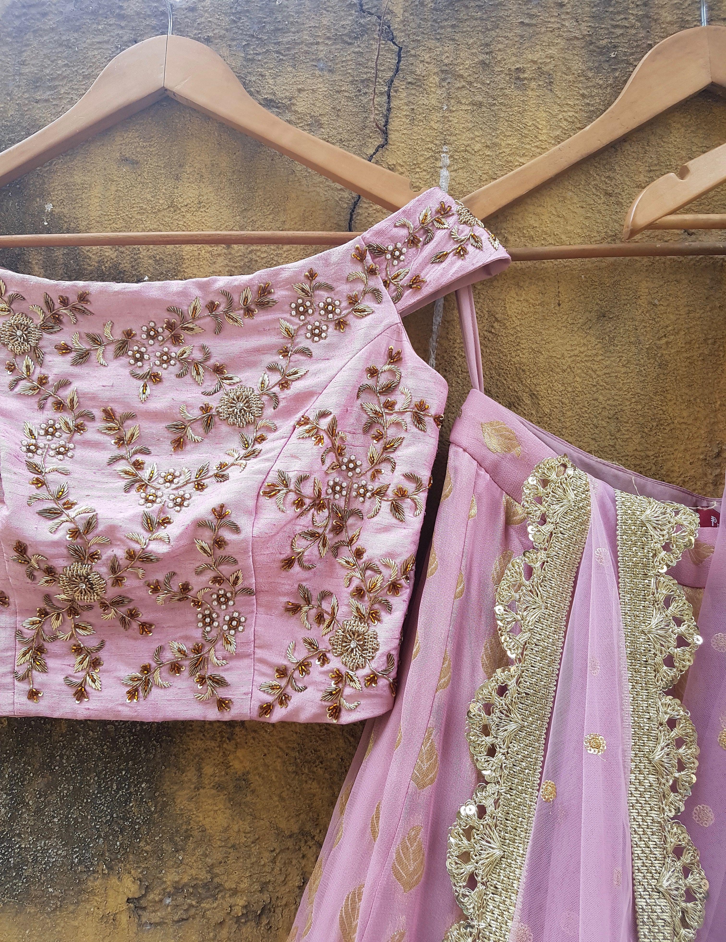 Lilac Raw Silk Off Shoulder Lehenga - Priti Sahni