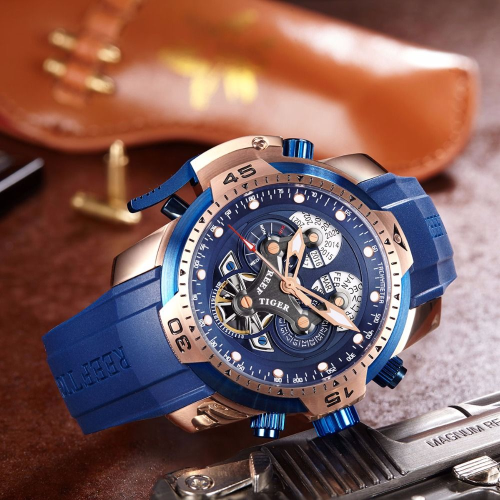 Reef Tiger Rt Sport Mens Watch With Complicated Big Dial Perpetual