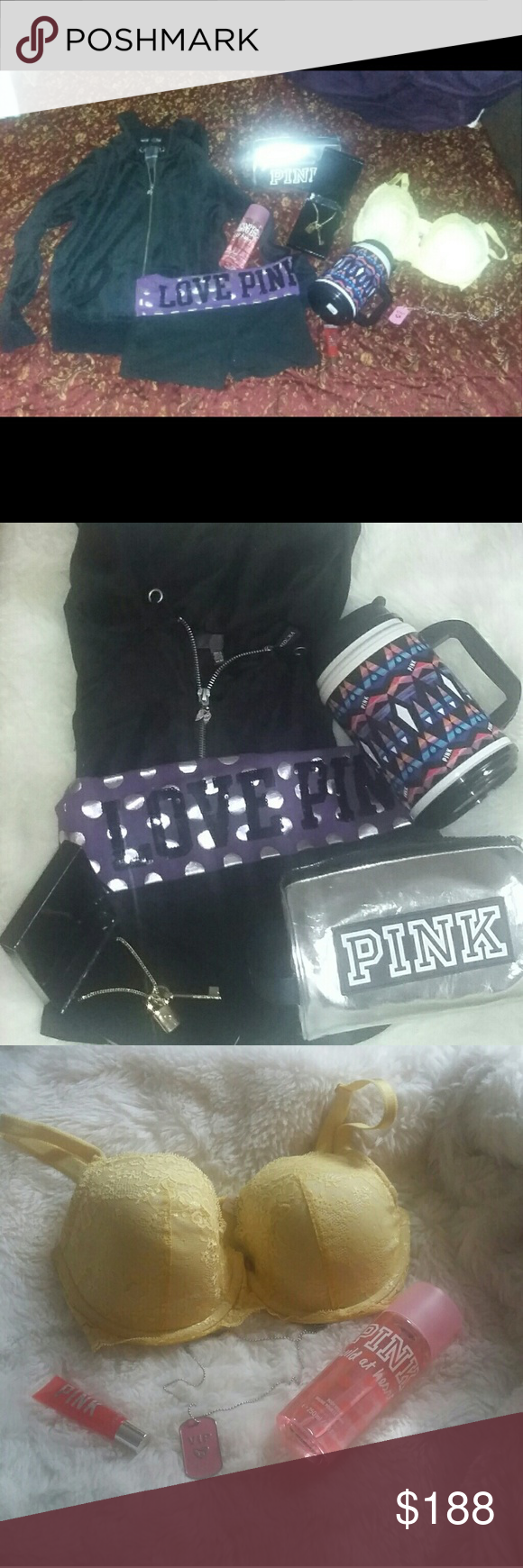 VS BUNDLE VIEW ALL PICS!! No flaws. Size Medium, no flaws black velvet full zip hoodie.  Angel wing zipper, nothing on the back.  Size small yoga shorts No rips or tears, all sequins are intact. Pink cosmetic bag and an unused chug mug along with the limited edition Scadalous necklace.34 DD demi lined push up bra. Only worn a few times. Has been washed.  Wild at heart body spray, slightly used.  Limited edition VIP dog tag chain.  Unused lip gloss. PINK Victoria's Secret Intimates…