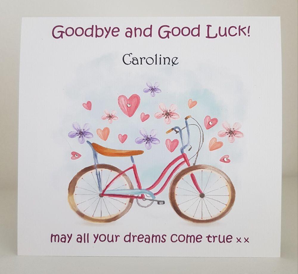 Goodbye u good luck personalised u handmade card leaving farewell