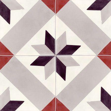 Carreau de ciment intérieur Etoile Premium gris noir rouge