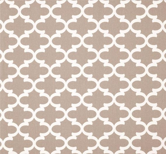 Modern Geometric Fabric By The Yard, Taupe Tan Designer Home Décor