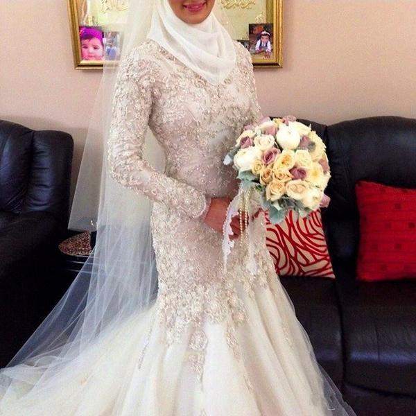 2add46a9f871 Custom Muslim Wedding Dresses High Neck Long Sleeve Beads Mermaid Wedding  Gown