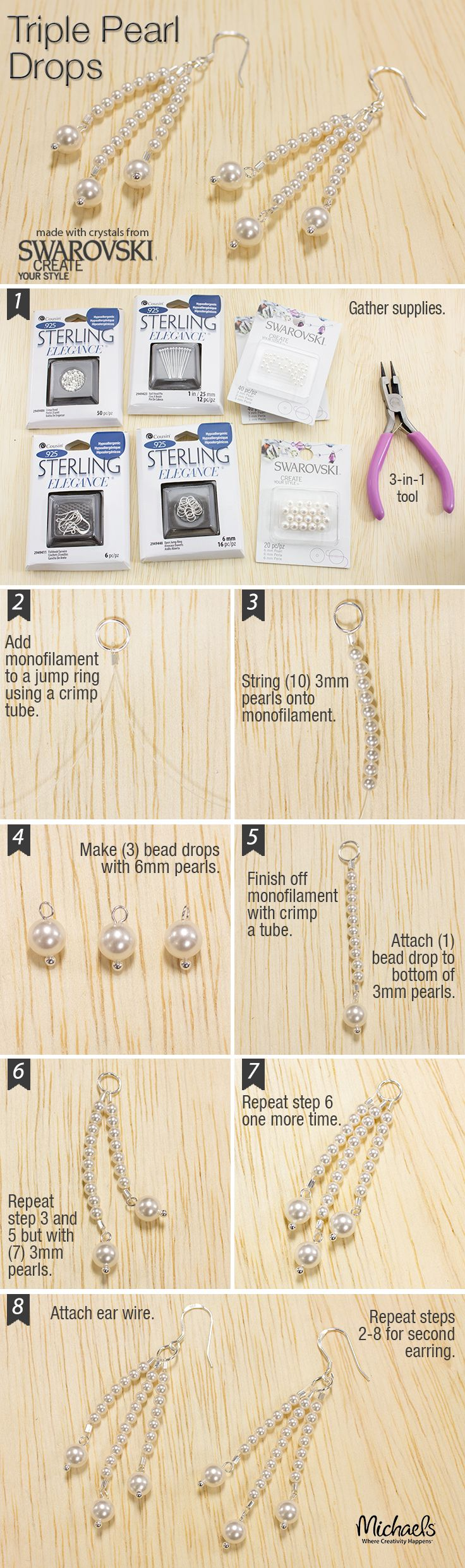 Pearls are classic for jewelry. Combine two sizes to make these easy Triple Pearl Drop Earrings