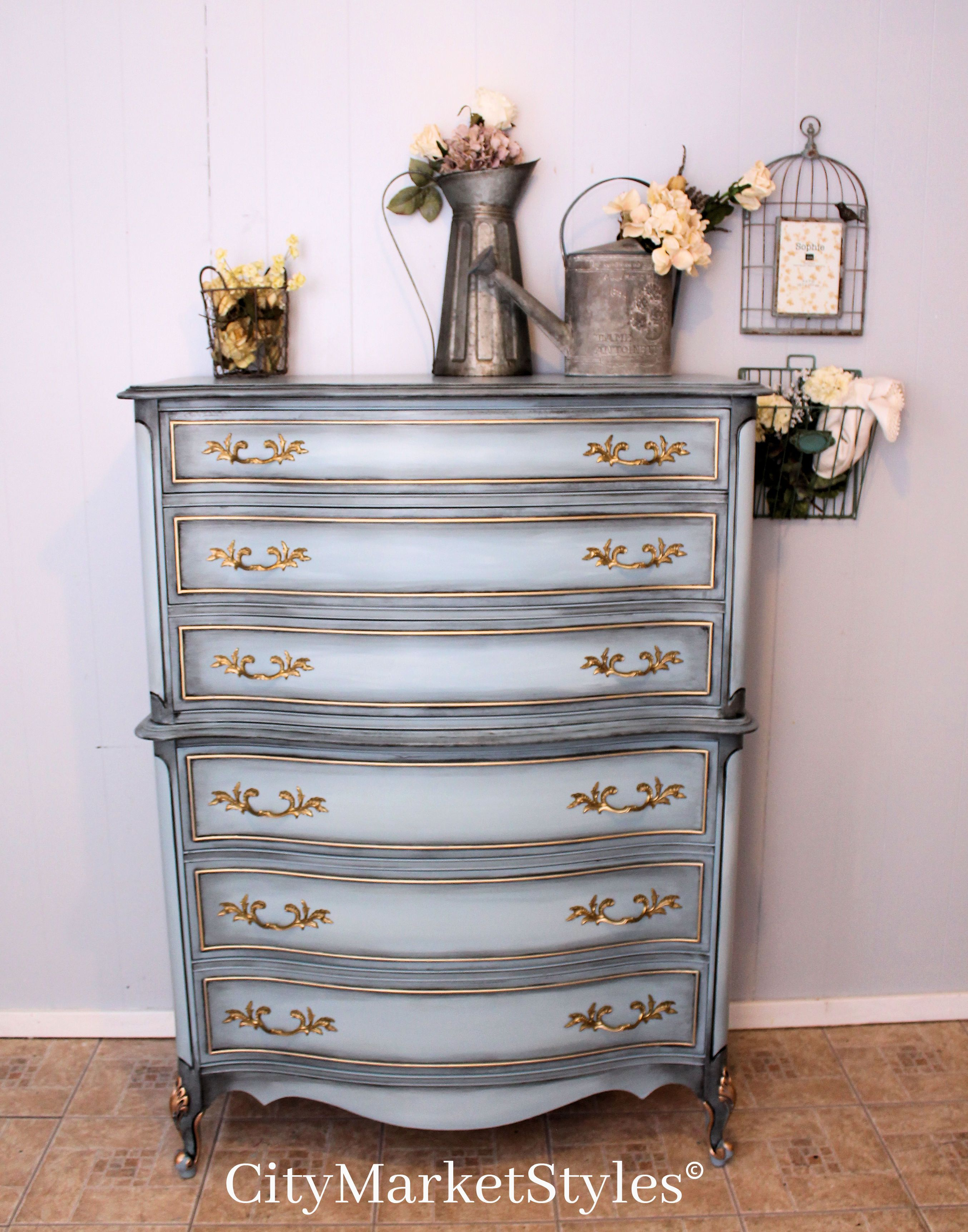 Painted French Provincial Chest Of Drawers In Stormy Cove Blue With Dark Glaze And Gold Accents Blue Bedroom Furniture Painted Bedroom Furniture Blue Furniture