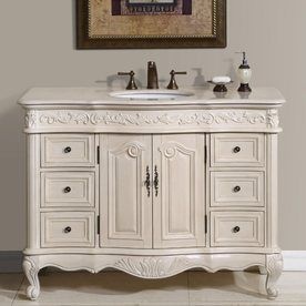 lowes shop silkroad exclusive ella antique white on lowes vanity id=81199