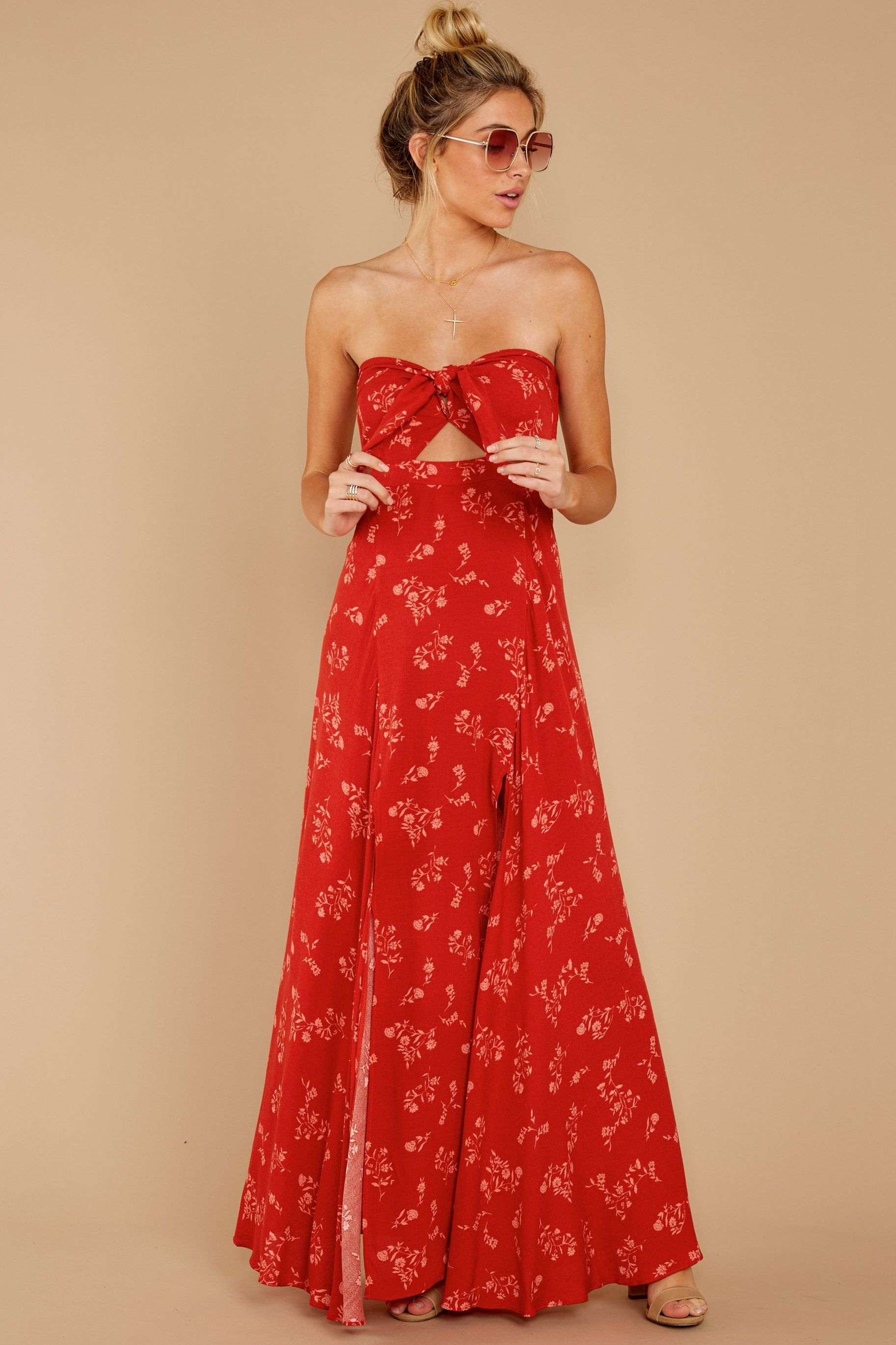 Stunning Rust Dress Strapless Floral Print Dress Dress 60 00 Red Dress Red Dress Women Strapless Dress Formal Unique Dresses [ 2738 x 1825 Pixel ]