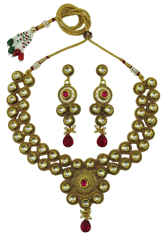 Matra gold tone ethnic kundan stone pcs necklace set indian women