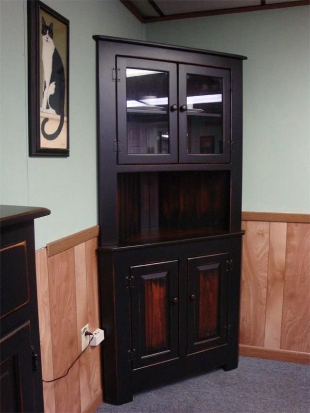 Amish Farmhouse Pine Corner Hutch