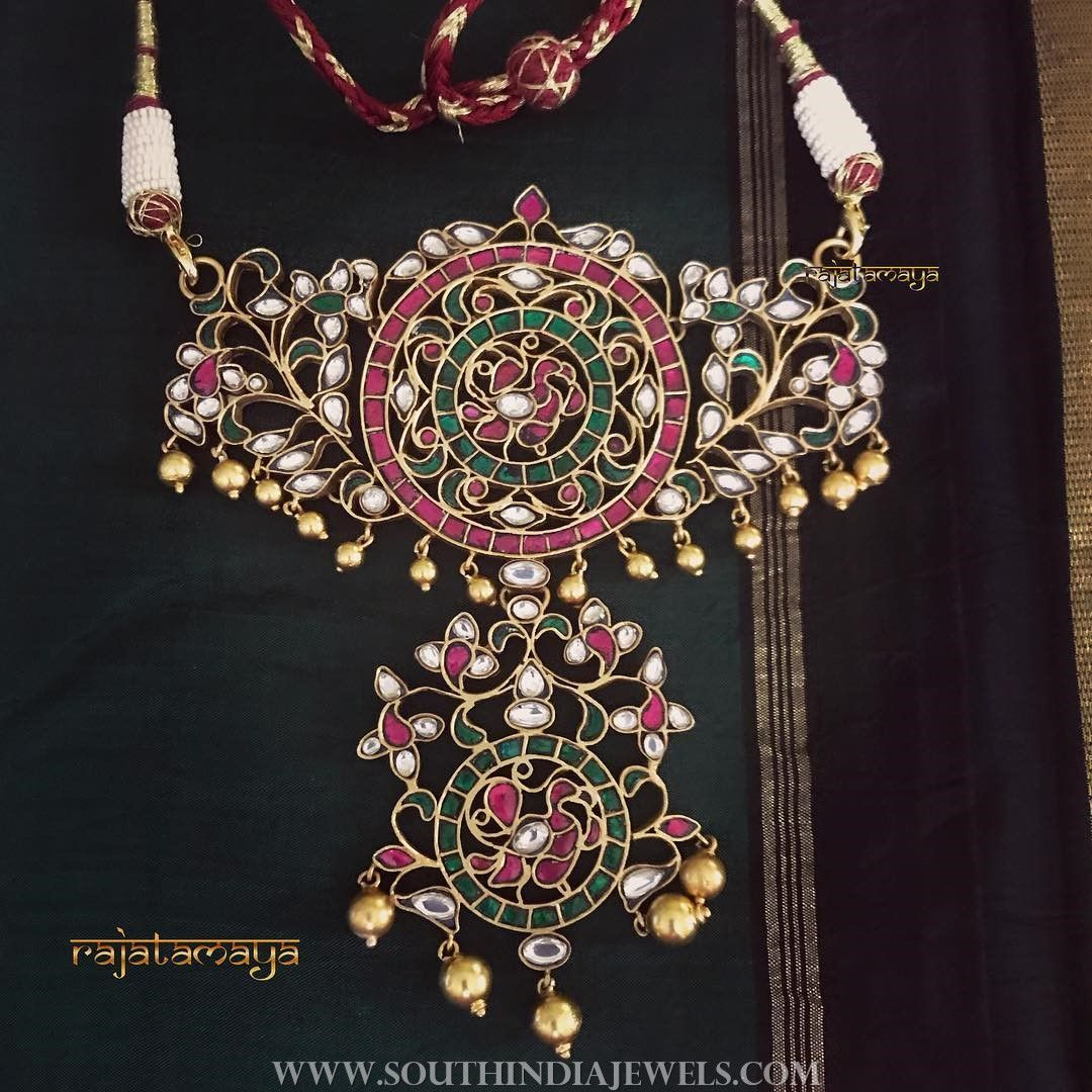 Gold plated ruby emeraled pendant from rajatmaya necklace