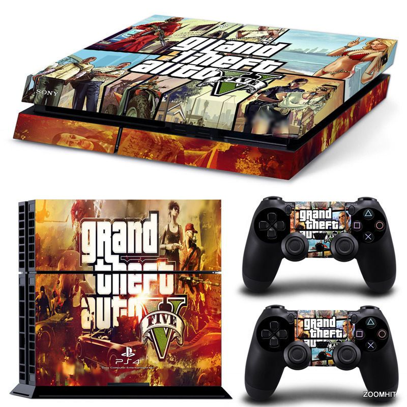 Ps4 playstation 4 console skin decal sticker gta v 2 controller skins set zoomhit