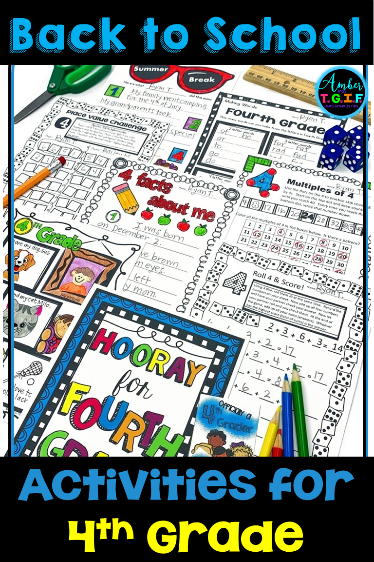 small resolution of 4th Grade Back to School Activities   First week of school ideas