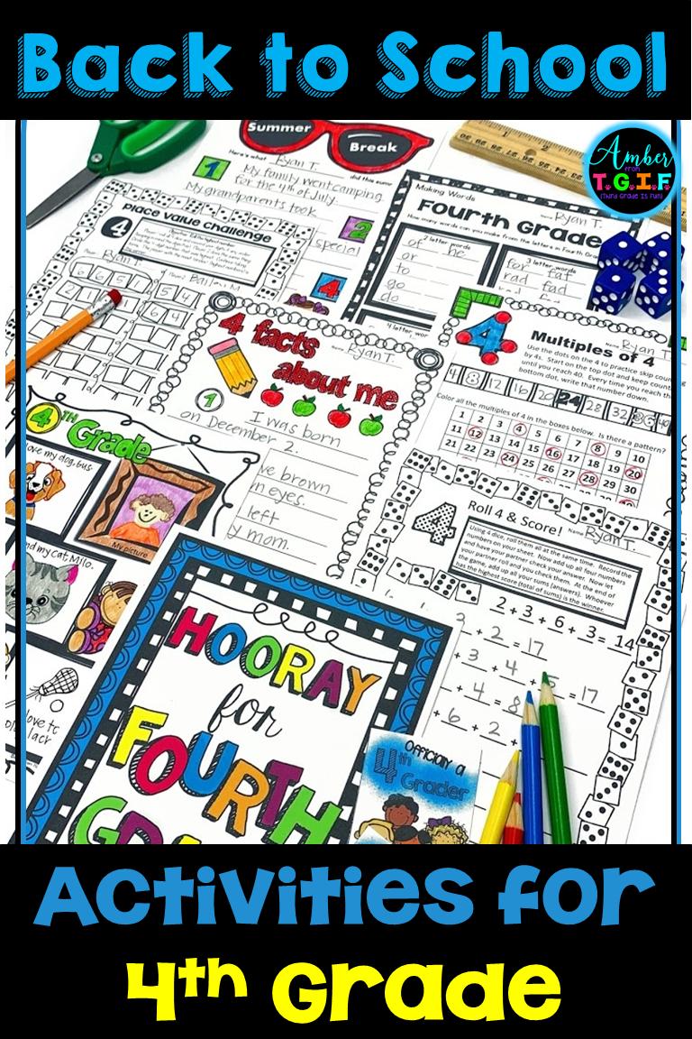 4th Grade Back to School Activities   First week of school ideas [ 1152 x 768 Pixel ]