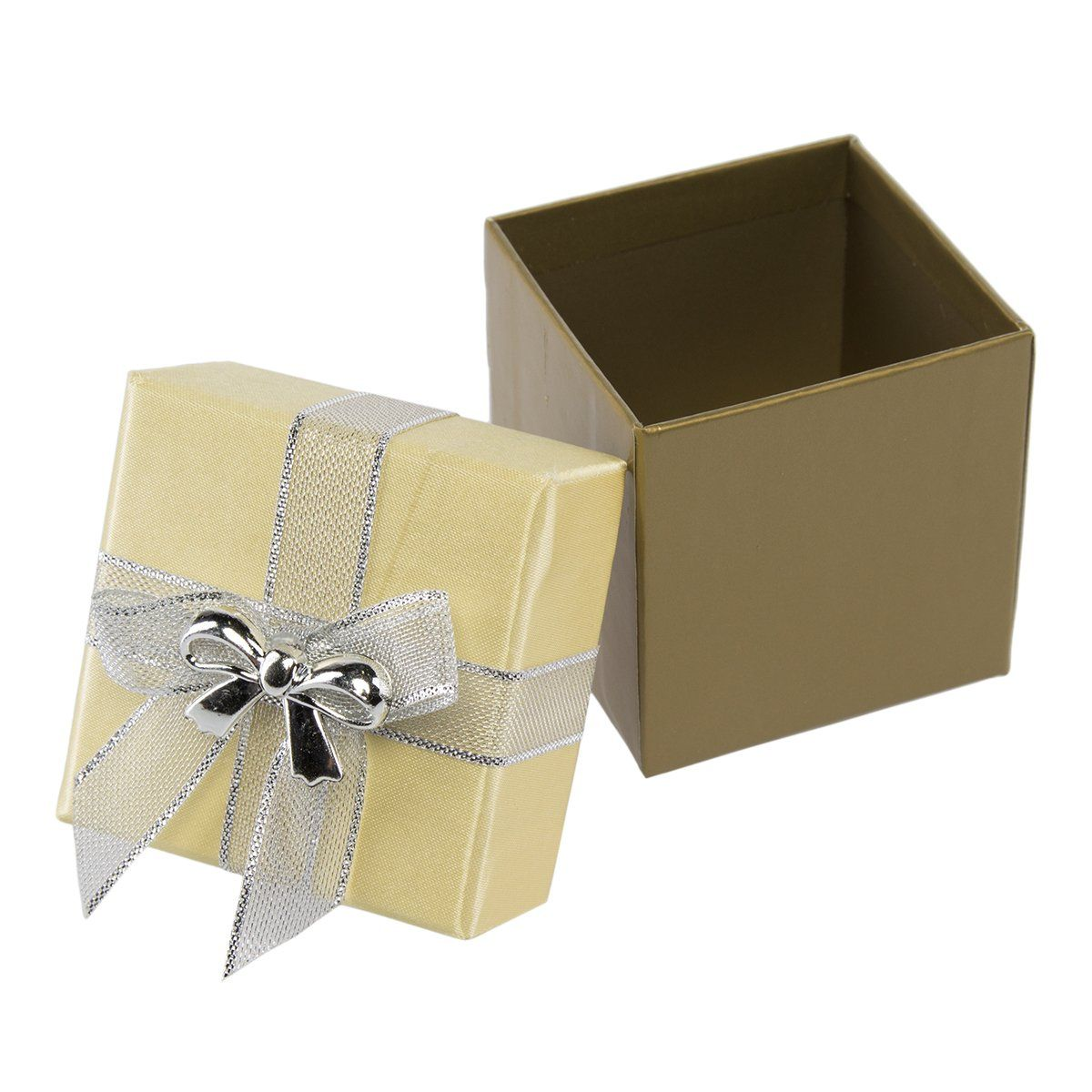 For Keeps 8 Pack Small Holiday Gift Boxes Silver Gold Lid Bow