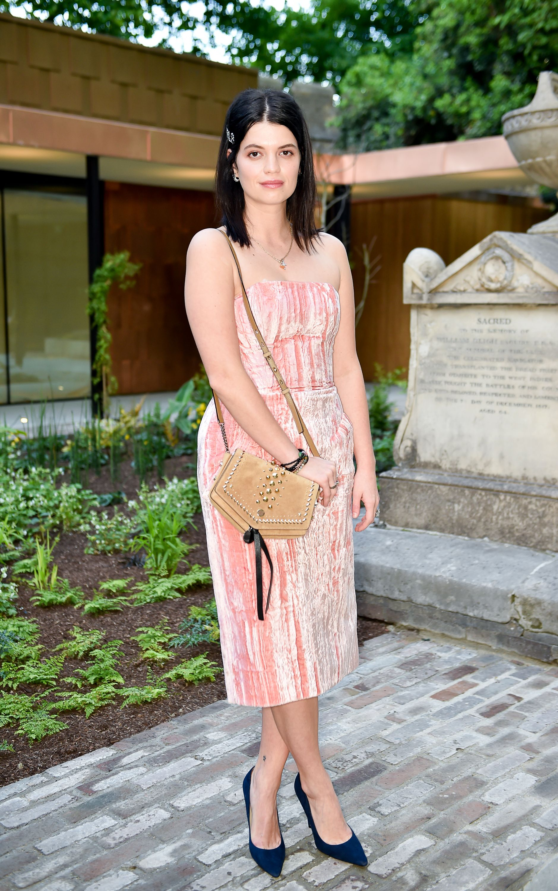 21cac77ce5ca Pixie Geldof in a oh-so chic velvet dress at the Jimmy Choo x mytheresa  dinner at the Garden Museum in London.