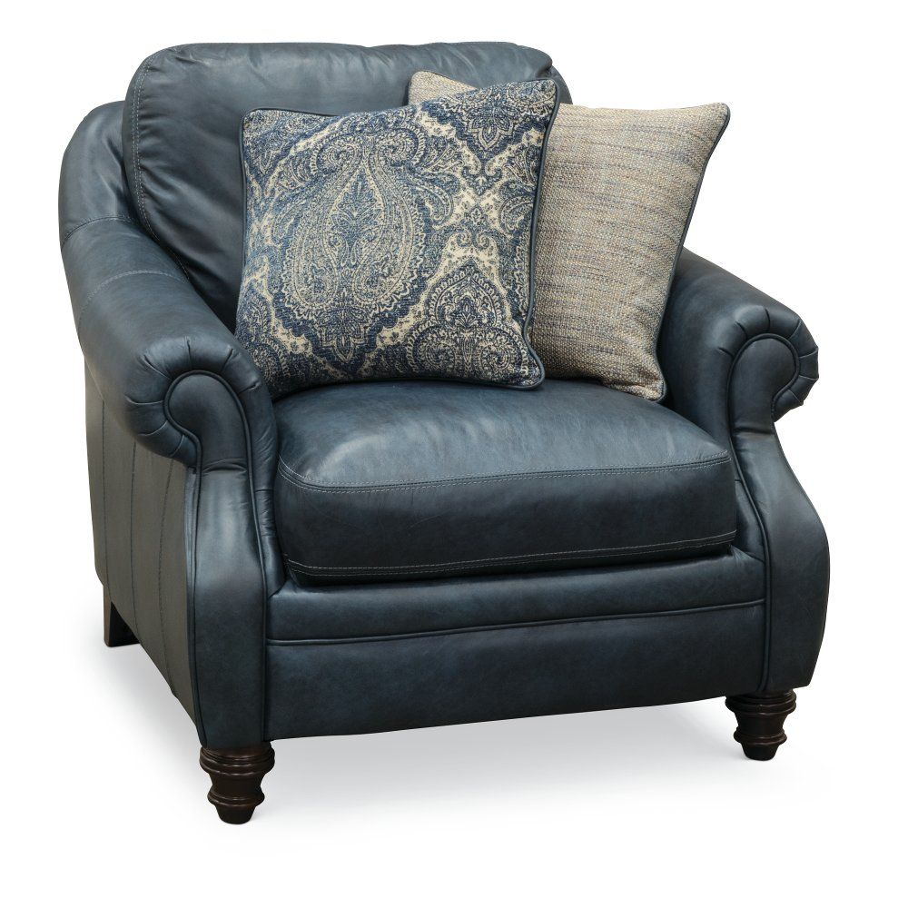 Classic Traditional Navy Blue Leather Chair Admiral Blue