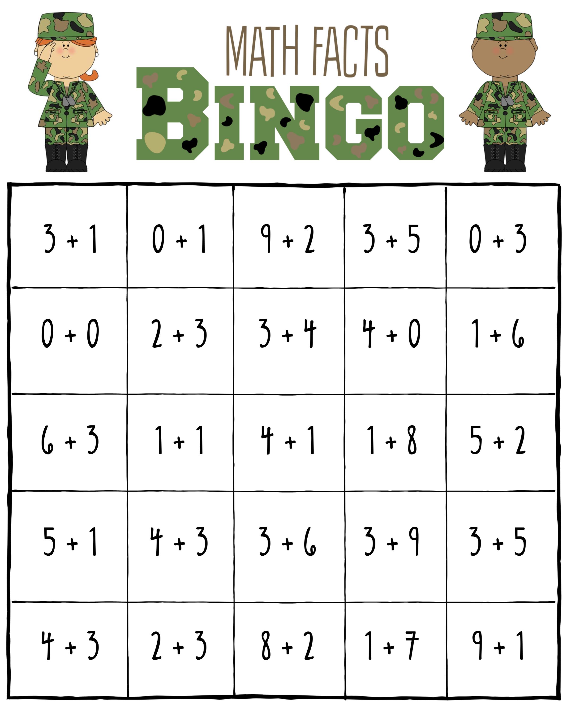 Veterans Day Math Facts Bingo Game Center Activity